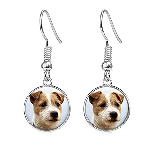 Jack Russell Terrier Silver Plated Costume Jewellery Drop Earrings Ideal Gift C31