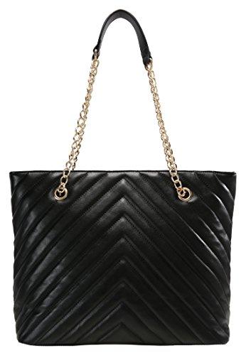 Anna Field Shopper Tasche für Damen mit elegantem Kettenhenkel in Schwarz, One Size