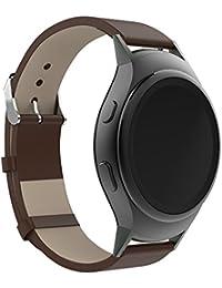 20mm Correa de reloj de cuero, happytop Retro pulsera correa de muñeca relojes Reemplazo para Samsung Galaxy Gear S2SM-R720, hombre, marrón, S