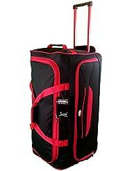 Grande taille Sac de voyage 90L de Voyage valises souples. Noir avec garniture rouge. Bagagerie