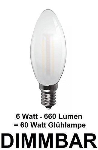 Dimmbare 6 Watt FADEN/FILAMENT LED Lampe, traditionelle Kerze in Milchglas Matt, Fassung E14, Retrofit, Warmweiss ca. 2700 Kelvin, 660 Lumen wie ca. 60 Watt Glühlampe, ideal für Kronleuchter -