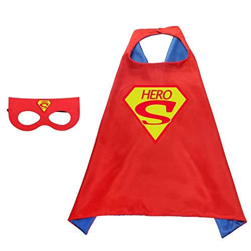 BUY-TO Superheld Cape Superheld Cosplay Kostüm für Kinder Halloween Party Kostüme für Kinder Superman Spiderman Mantel mit Maske,Superman-2 (Zwei Stück Superman Kostüm)