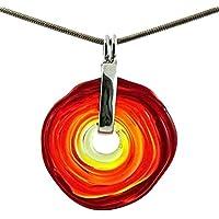 Kette in Rot-Tönen mit Anhänger aus Murano-Glas | Glas-Schmuck Wechsel-Schmuck | Unikat handmade handgemacht | Geschenk zur Hochzeit | Geburtstagsgeschenk | Personalisiertes Geschenk zu Weihnachten | Mama
