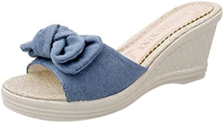 summer femmes sandales, | plate - forme bow bohemia | bohemia bow tong plage imperméables perles sandales coins de plats chaussures charmante... 959195