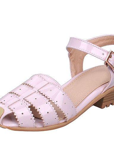 LFNLYX Scarpe Donna-Sandali-Formale / Casual-Alla schiava / Punta arrotondata-Basso-Vernice-Rosa / Rosso / Bianco / Argento White