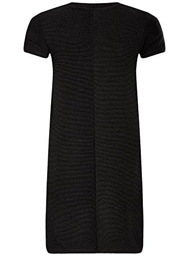 oodji Ultra Femme Robe Ligne A en Maille Côtelée Noir (2900N)