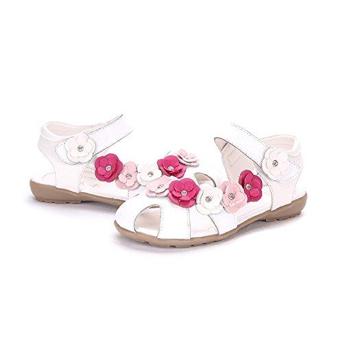 OCHENTA Fille Sandales Bout Fermé Fleurs Princesse Sandales Plates Chaussure Enfant Blanc