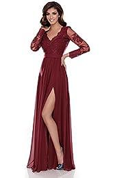 Miss Grey Mujer Ropa de Noche Largo Acampanado Escote V Bordados Elegante Vestido de Fiesta