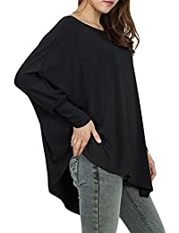 La Mujer Casual Tops Blusas Camiseta Manga Asimetrica Suelto Batwing Tee