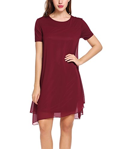 Zeagoo Damen Chiffon Kleid Strandkleid Sommerkleider Minikleid Partykleid Kurz A Linie Weinrot