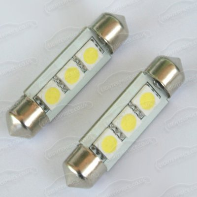 fhouses 2 x 3 SMD LED 39 mm 239 C5 W Xenon weiß innen hell Nummernschild Soffittenlampe Dome Lampe