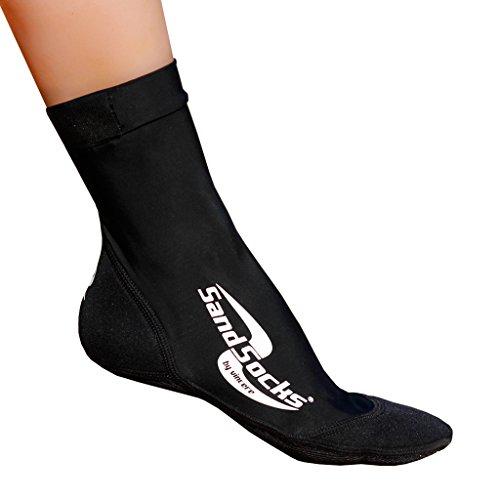 Sand-Socks Kids by Vincere - Neopren-Socken für Kinder - Strand-Socken zum Schutz vor Hitze, Kälte & gefährlichen Gegenständen - Watt-Socken / Bade-Socken für Sand & Wasser - Schwarz I 34-35,5