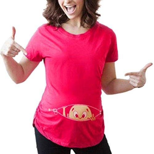 AMUSTER Schwangere Frauen Basic T-shirt Damen Umstandsmode T Shirt Kurzarm Schwangere Umsstandsshirt Geschenk für Damen Umstandstop Umstandsshirt (XL, Hot Pink) - Free Womens Pink T-shirt