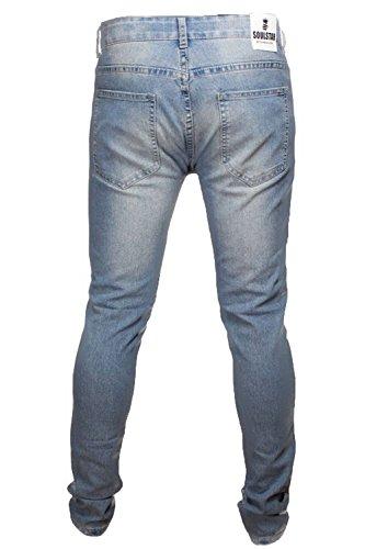 Hommes Déchiré Jeans Coupe Skinny Par Soul Star Bleu Clair - DEONEW