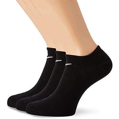 Nike 3PPK Value No Show (S,M,L,XL) - Calcetines unisex, color negro / blanco, talla M