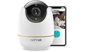 Cámara de Vigilancia WiFi Interior, Netvue HD Domo Cámara IP con Pan/Tilt 8X Zoom, Visión Nocturna, Detección de Movimiento, Audio Bidireccional, Camara Seguridad para Bebés y Mascotas