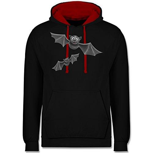 Halloween - süße Fledermäuse - M - Schwarz/Rot - JH003 - Kontrast - College-halloween-party-idee