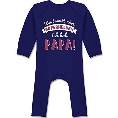 Anlässe Baby - Wer braucht Schon Superhelden ich hab Papa 01-6-12 Monate - Navy Blau - BZ13 - Baby-Body Langarm für Jungen und Mädchen