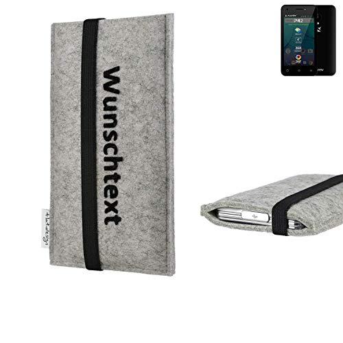 flat.design Handy Hülle Coimbra für Allview P42 maßgeschneiderte Handytasche Filz Tasche Case schwarz grau