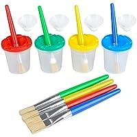 TIMESETL Lot pinceau à peinture y compris 8pcs brosse à peinture et 4pcs tasses de peinture étanche pour les enfants