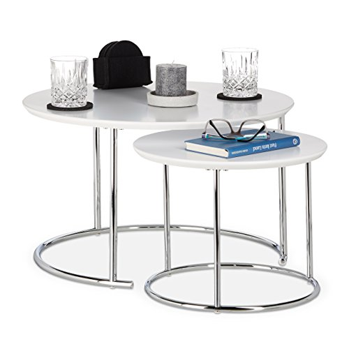 Relaxdays Table Gigogne Set de 2 Table de Salon Petite Ronde Mate, Table Basse Bois Métal Chromé 60x60 cm, Blanc