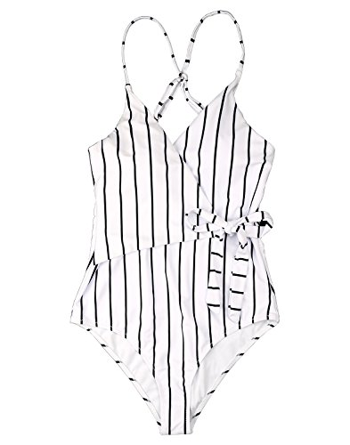 Bequemer Laden Damen Schlankheits Badeanzug Streifen Einteiler Bademode Strandmode Strandkleidung, Einzel Farbe, S