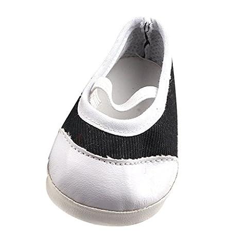 MagiDeal Classiques Chaussures Ballerines Collant Strap Flats Pour 17inch/43cm Poupées Dolls - Noir Blanc