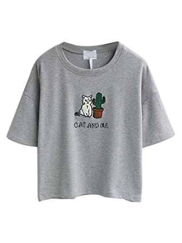 choies-damen-t-shirts-mit-stickerei-rundhals-kurzarm-cat-and-me-basic-cool-shirts-blouse-tops-grau-o