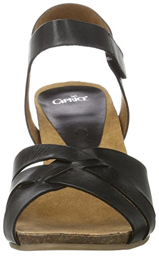 Caprice Damen 28317 Offene Sandalen mit Keilabsatz Schwarz (BLACK NAPPA)