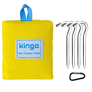 KINGA Camping Blanket Picnic Blanket Beach Blanket Sheet Pocket Fit Lightweight Water Repellent Large Size 5.3 x 3.6 ft All Weather Suitable Portable for Outdoors Polyester Fabric Yellow Color
