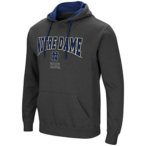 Colosseum Herren NCAA-Scoreboard-Dual Blend-Fleece Kapuzenpullover Sweatshirt mit Tackle Twill Bestickt Teamname und Logo, Anthrazit, Herren, Notre Dame Fighting Irish, XX-Large - Baseball-fleece-sweatshirt