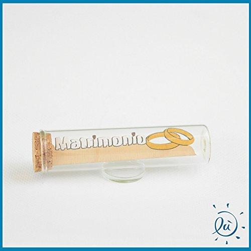 Tubicino in vetro scritta legno matrimonio misura 3x11 cm | tubi in vetro per bomboniere matrimonio nascita comunione e idee regalo casa e coppia