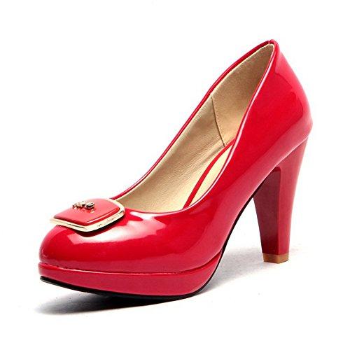 AgooLar Damen Lackleder Ziehen Auf Rund Zehe Hoher Absatz Eingelegt Pumps Schuhe Rot