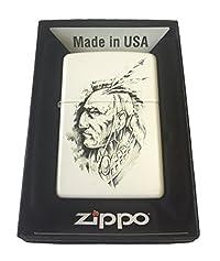 Zippo Custom Lighter - Native American Indian Chief Art Sketch White Matte