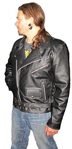 80er Lederjacke - Metal Lederjacke - Lederjacke Brando Style - Biker Lederjacke (M(Medium))