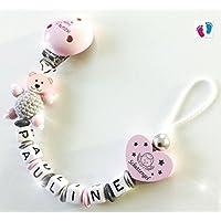 Schnullerkette mit Namen - Kleine Prinzessin - Schutzengel - Bär mit Häkelperle - Mädchen - rosa - silber - grau - A010