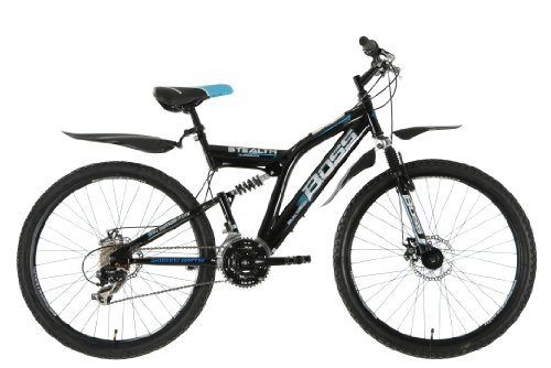 Boss StealthMens' Mountain Bike Black, 26 inch steel frame, 21 speed front and rear mudguards front and rear mechanical disc brake