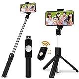 SOOTEWAY Bâton Selfie Bluetooth, 3 en 1 Perche Selfie Trépied avec Télécommande...