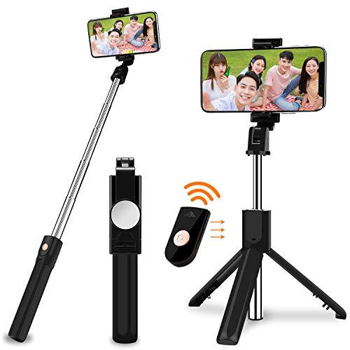 SOOTEWAY Bâton Selfie Bluetooth, 3 en 1 Perche Selfie Trépied avec Télécommande pour iPhone X/ 8/7/ 7 Plus/ 6s/ 6, Samsung Galaxy, Android Smartphones 3.5-6.5''-Selfie Stick Aluminium 360°Rotation