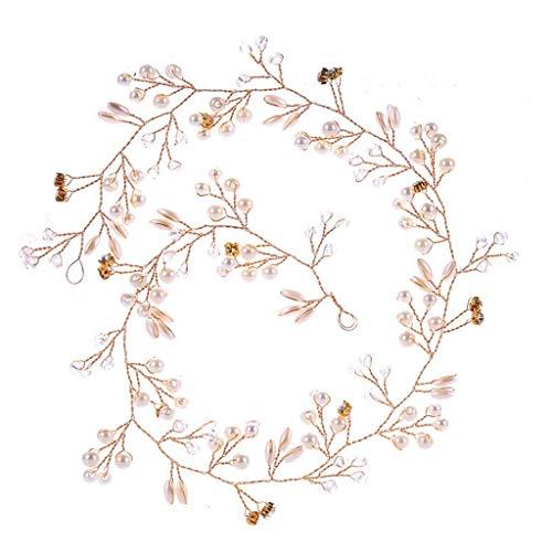 Darringls Mode Luxus Braut Perle Stirnband Handgewebte Haarschmuck Kopfschmuck für Damen Elegante Fee Prinzessin Lange Blume Spitze Haar Seil String Mother's Day (Gold, Free)