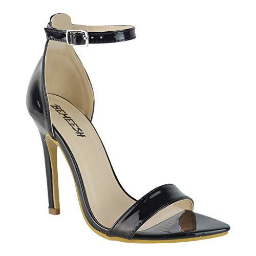 BeMeesh Damen Plateau kaum sichtbare Zehen Stiletto High Heel Sandalen Schuhe High-zehe