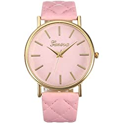 WINWINTOM Women Roman Leather Quartz Wrist Watch Pink