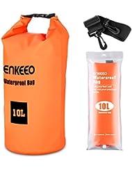 Enkeeo - Bolsa Seca Impermeable Mochila Estanca (10L, Material 500D PVC Grado Industrial, Para Gimnasio o Actividades Al Aire Libre y Acuaticas) Naranja