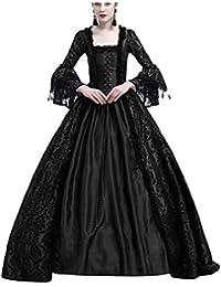 Donna Elegante Vestiti Campana con Collo Quadrato Abito Pizzo Lunghi  Vestito Formale Banchetto Sera c15a636a6ba3