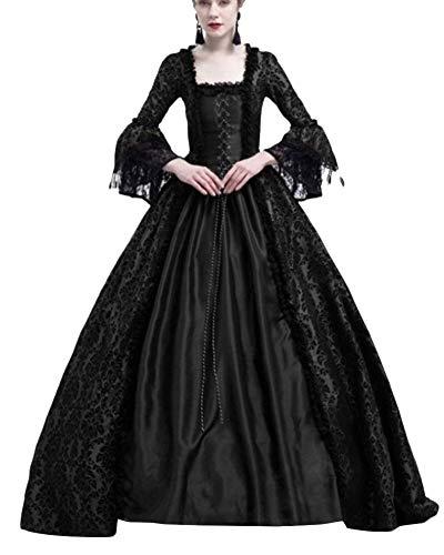 PengGengA Damen Mittelalter Kleider Glocke Ärmel Viktorianischen Königin Kleid Cosplay Kostüm Langarm Gothic Jahrgang Prinzessin Renaissance Bodenlänge Schwarz L