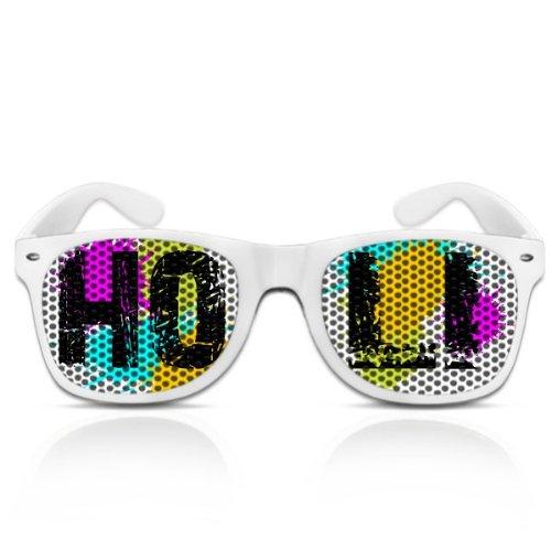 Partybrillen und Promotionbrillen Festival beklebte Sonnenbrille Atzenbrille Nerdbrille - Holi Neon...