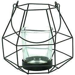 Windlicht Teelichthalter schwarz Geometrisches Design Ø10,5/12cm