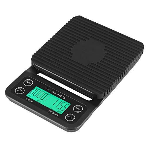 Fdit 3 kg/0,1g Digitale Lebensmittelwaage ABS Multifunktions Küche Digitalwaage Tasche Kochwaage mit LCD Display Zeit und Tara-Funktion Elegant Schwarz (Batterien Nicht Enthalten) (Grün Licht)