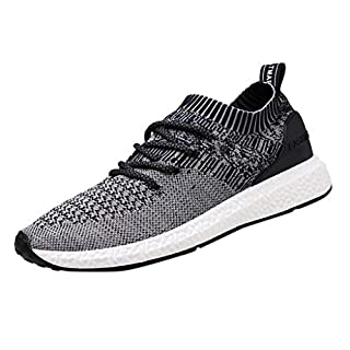 Moonuy MenWear Woven Breathable Sneakers Fashion Large Size Casual Shoes Running Shoes Men's Men's Athletic Shoes Trainers Running Fitness Gym Leisure Sneakers Dark Gray