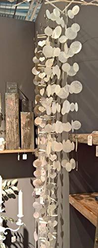 Capiz Muschel Mobile im Bambus Look - grau-weiss- Windspiel Girlande, Windspiel, Perlmutt